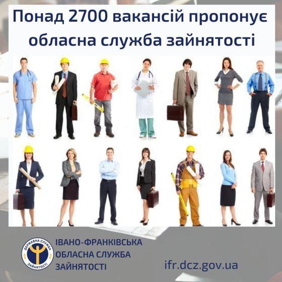 Понад 2700 вакансій пропонує обласна служба зайнятості